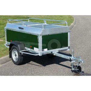 "Bagagewagen 200x100x60 (lxbxh bak), 750kg bruto (540 netto). groen betonplex panelen, banden 13"", enkelas"
