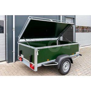 "Bagagewagen 200x110x60 (lxbxh bak), 750kg (530 netto). Groene betonplex panelen, banden 13"", enkelas"