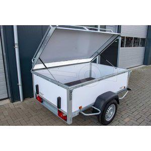 """Bagagewagen 200x110x60 (lxbxh bak), 750kg (530 netto). Witte kunststof panelen, banden 13"""", enkelas"""