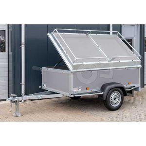 "Bagagewagen 200x110x60 (lxbxh bak), 750kg (530 netto). Grijze betonplex panelen, banden 13"", enkelas"