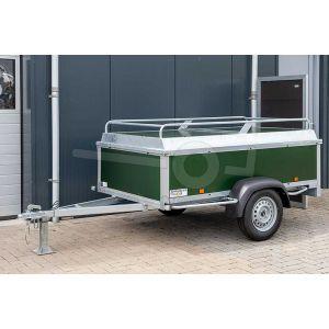 Power Trailer bagagewagen 200x132x60cm met groene betonplex panelen.