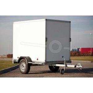 """gesloten aanhangwagen, 200x132x150 (lxbxh), bruto 750kg (460 netto),witte glad plywood wanden (ook wit dak) en 2 deuren achter, vloerhoogte 52cm, banden 13"""", enkelas"""