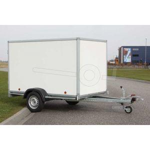 """gesloten aanhangwagen, 225x157x150 (lxbxh), bruto 750kg (390 netto),witte glad plywood wanden (ook wit dak) en 2 deuren achter, vloerhoogte 52cm, banden 13"""", enkelas geremd"""