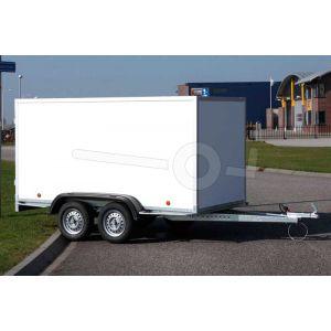 """gesloten aanhangwagen, 225x157x150 (lxbxh), bruto (2x) 750kg (340 netto),witte  PPL wanden en 2 deuren achter, vloerhoogte 52cm, banden 13"""", tandemas"""