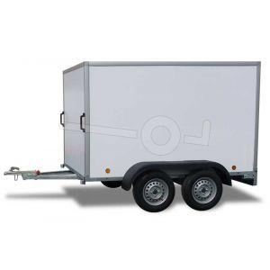 Power Trailer tandemas gesloten aanhangwagen, afmeting 252x150x150cm, bruto laadvermogen 750kg ongeremd