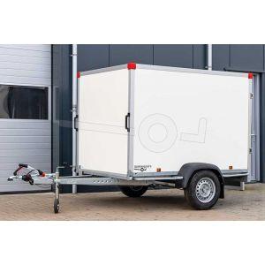 """Gesloten aanhangwagen, 257x157x150 (lxbxh), bruto 750kg (350 netto), witte glad plywood wanden (ook wit dak) en 2 deuren achter, vloerhoogte 52cm, banden 13"""", enkelas geremd"""