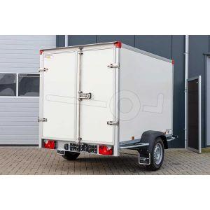 """Gesloten aanhangwagen, 257x157x188 (lxbxh), bruto 1000kg (580 netto),witte  glad plywood wanden (ook wit dak) en 2 deuren achter, vloerhoogte 52cm, banden 13"""", enkelas geremd"""