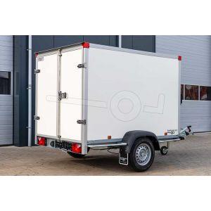 """Gesloten aanhangwagen, 257x157x150 (lxbxh), bruto 1350kg (880 netto),witte glad plywood wanden (ook wit dak) en 2 deuren achter, vloerhoogte 52cm, banden 13"""", enkelas geremd"""