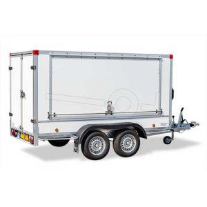 Powertrailer gesloten aanhangwagen met optionele zijklep, voorzien van slot en gasveren.