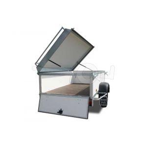 Optioneel neerklapbaar achterbord op een Power Trailer bagagewagen met een lengte vanaf 175 cm