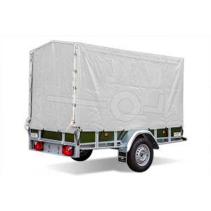 Huif compleet met frame 130cm hoog vanaf bodem, (voor powertrailer 200x110), grijs, ongemonteerd
