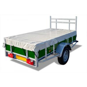 Vlakzeil compleet, voor Powertrailer bakwagen 200x110 met vast voorrek en tussenstijlen, grijs, ongemonteerd