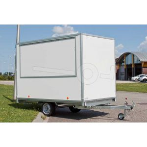 Verkoopwagen plateau casco 257x180x200cm (lxbxh), bruto 750 kg, wanden wit glad plywood, 1 deur achter, grote verkoopklep zijkant, enkelas