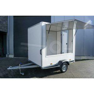 Verkoopwagen casco 307x180x200cm (lxbxh), bruto 750 kg, wanden wit glad plywood, 1 deur achter, grote verkoopklep zijkant, enkelas