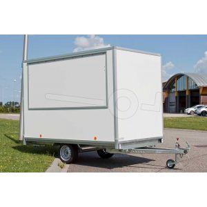 Verkoopwagen plateau casco 307x200x220cm (lxbxh), bruto 750 kg, wanden wit glad plywood, 1 deur achter, grote verkoopklep zijkant, enkelas
