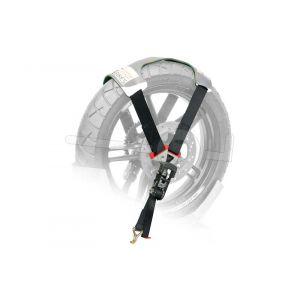 Steadystand Tyrefix motorspanband over het achterwiel van een motor.