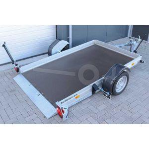 """transporter voor kleine voertuigen,hydraulisch zakbaar,  250x156,  bruto750kg (450 netto), vloerhoogte 42cm, oprijhoek 6º, 15cm aluminium borden, banden 13"""", enkelas"""