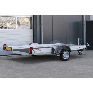 """transporter voor kleine voertuigen,hydraulisch zakbaar,  280x176,  bruto1800kg (1150 netto), vloerhoogte 42cm, oprijhoek 5º, 15cm aluminium borden, banden 13"""", enkelas"""