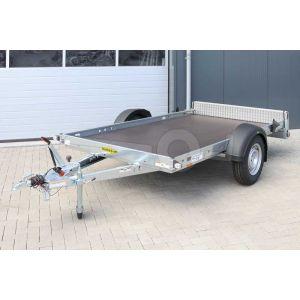 """transporter voor kleine voertuigen, 295x165,  bruto1500kg (1170 netto), vloerhoogte 51cm, oprijhoek 14º, banden 14"""", enkelas"""