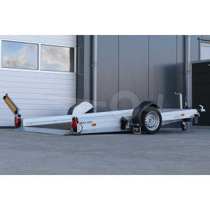 """transporter voor kleine voertuigen,hydraulisch zakbaar,  310x176,  bruto1350kg (985 netto), vloerhoogte 42cm, oprijhoek 4º, 15cm aluminium borden, banden 13"""", enkelas"""
