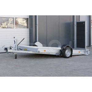 """transporter voor kleine voertuigen,hydraulisch zakbaar,  310x176,  bruto1500kg (1135 netto), vloerhoogte 42cm, oprijhoek 4º, 15cm aluminium borden, banden 13"""", enkelas"""
