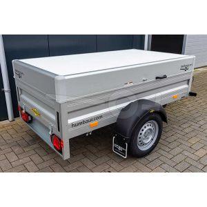 Humbaur aluminium  bagagewagen (lxbxh) 205x110x53cm, type HA 752111 met deksel, Bruto 750kg (570kg netto), Aluminium wanden, Enkelas ongeremd, Banden 145/80R13