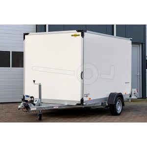 """gesloten hydraulisch zakbare bakwagen, 280x177x180(lxbxh), bruto 1800kg(1188 netto), oprijhoek 5º, witte 15mm plywood wanden en opgaande achterklep, vloerhoogte 42cm, banden 13"""", enkelas"""