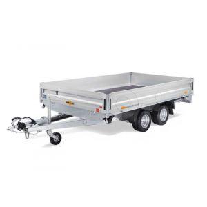 """Plateauwagen 622x247cm, bruto 2500kg (1585 netto), laadvloerhoogte 62cm, 35cm aluminium borden, banden 10"""", tandemas geremd"""