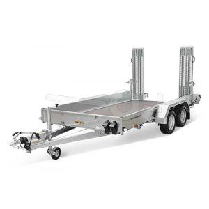 "Machinetransporter 300x160 (lxb bak), bruto 3000kg (2370 netto), laadvloerhoogte 49cm, 27cm stalen borden, banden 14"", tandemas"