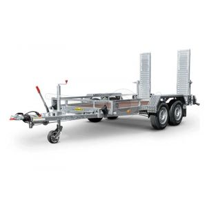 "Machinetransporter 350x164 (lxb bak), bruto 3500kg (2800 netto), laadvloerhoogte 45cm, 21cm stalen reling, banden 13"", tandemas"