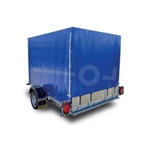 Huif blauw voor Humbaur HKT 752515S, 13251S5, 152515S of 182515S met oprijkant 160cm hoog kleur blauw, ongemonteerd
