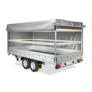 Huif compleet voor Humbaur HT en HN plateauwagen 410x210cm, 200cm hoog. Ongemonteerd.