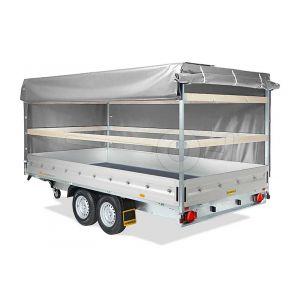 Huif voor de Humbaur HT en HN plateauwagen 622 x 247 cm met een dakhoogte van 180 cm vanaf de laadvloer.