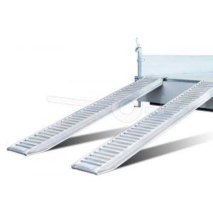Set van twee aluminium oprijplaten 265cm lang draagvermogen 2800kg voor de Humbaur HTK driezijdige kipper