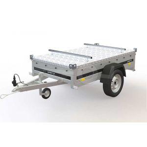 """Martz bagagewagen 205x125, bruto 750kg (584 netto), metalen borden en aluminium deksel, banden 13"""", enkelas ongeremd"""