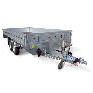 Plateauwagen Blyss Condor II, afmeting 330x180cm met 40cm aluminium borden, bruto laadvermogen 2700kg, laadvloerhoogte 72cm