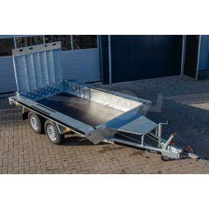 "Machinetransporter 350x160cm (lxb laadbak), bruto 3000kg (ca. 2225kg netto), 30cm stalen borden, banden 14"", tandemas"