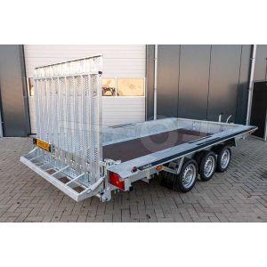 "Machinetransporter 350x160cm (lxb laadbak), bruto 3500kg (ca. 2690kg netto), 30cm stalen borden, banden 14"", tridemas"