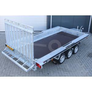 "Machinetransporter 400x180cm (lxb laadbak), bruto 3500kg (2610kg netto), 30cm stalen borden, banden 13"", tridemas"