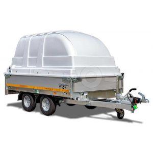Kunststof kap voor Eduard aanhangwagen 260x150cm, 130cm hoogte vanaf laadvloer, lichtgrijs
