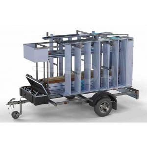 Afsluitbare steigeraanhanger compleet met rolsteiger 250x135cm werkhoogte 12,2 meter voorzien van carbon vloeren