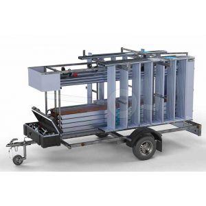 Afsluitbare steigeraanhanger compleet met rolsteiger 305x135cm werkhoogte 12,2 meter voorzien van carbon vloeren