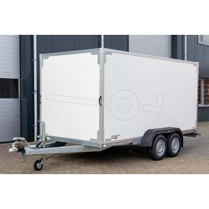 """Aanbieding. Twins Trailers gesloten aanhangwagen (lxbxh) 407x187x180cm, model TG01H-2700-D14, Bruto 2700kg (1810kg netto), Witte plywood panelen, 2 achterdeuren, Vloerhoogte 55cm, Tandemas geremd, Banden 13"""""""