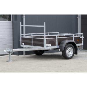 """Aanbieding: Open aanhangwagen 200x132 (lxb bak), 750kg bruto (550 netto), borden en bodem bruin betonplex, banden 13"""", enkelas"""