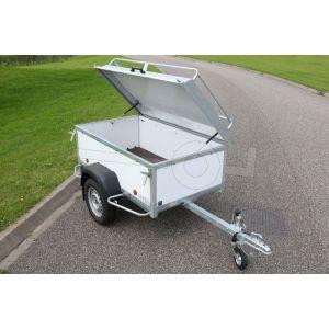 """Aanbieding bagagewagen 175x100x60 (lxbxh bak), 750kg bruto (560 netto). witte PPL panelen, banden 13"""", enkelas"""