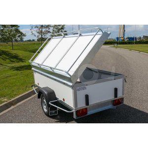 """Aanbieding bagagewagen 200x100x60 (lxbxh bak), 750kg bruto. witte PPL panelen, banden 13"""", enkelas"""