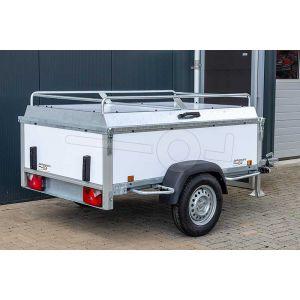 """Aanbieding bagagewagen 200x110x60 (lxbxh bak), 750kg bruto (530 netto). witte PPL panelen, banden 13"""", enkelas"""