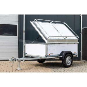 """Aanbieding bagagewagen 200x132x60 (lxbxh bak), 750kg bruto (500 netto). witte PPL panelen, banden 13"""", enkelas"""