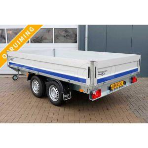 Aanbieding plateauwagen Blyss Condor II, afmeting 330x180cm met 40cm aluminium borden, bruto laadvermogen 2700kg, laadvloerhoogte 72cm