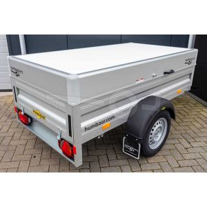 Humbaur aluminium bagagewagen (lxbxh) 205x110x68cm, type HA 102111-5 met deksel, Bruto 1000kg (810kg netto), Aluminium wanden 50cm, Enkelas geremd, Banden 155/80R13
